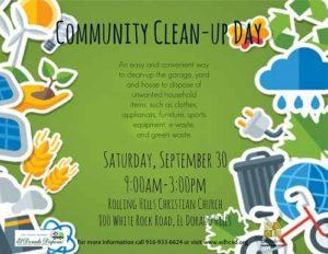 EL DORADO HILLS COMMUNITY CLEAN-UP DAY | SATURDAY, SEPTEMBER 30 | ROLLING HILLS CHURCH | WHITE ROCK ROAD, EDH