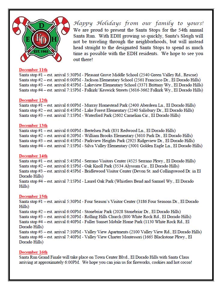 Edh Fire Department 54th Annual Neighborhood Santa Run Mark Your